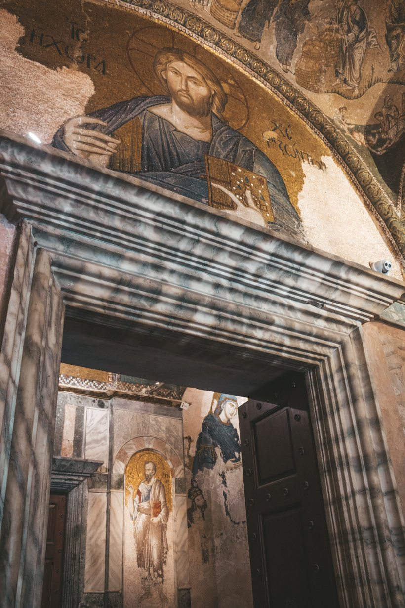 saint paul and Christ in frescos