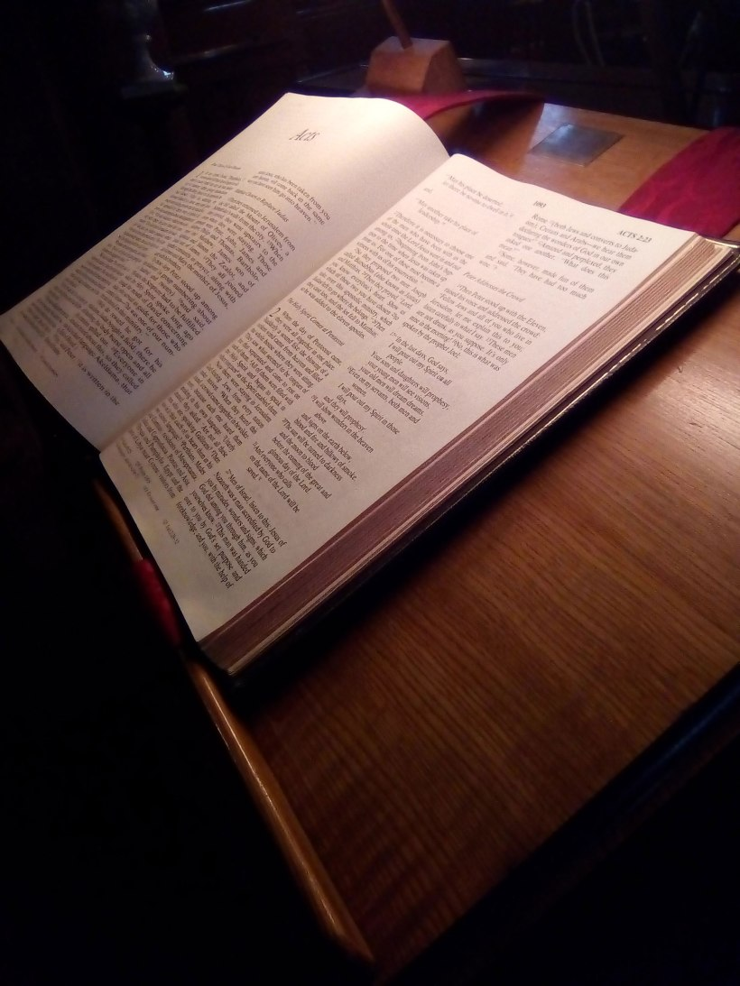 bible and lectern